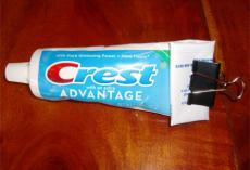 Use a binder clip to get the most out of your toothpaste tube